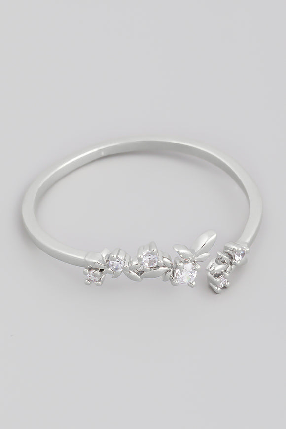 Silver Delicate Open Rhinestone Fashion Ring