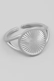 Silver Adjustable Circle Disc Ring