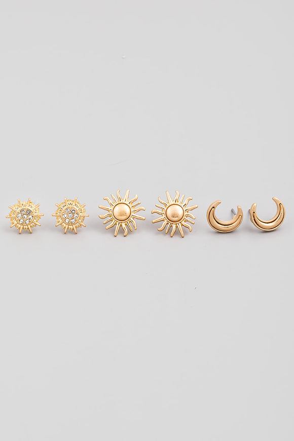 Gold Mini Sun Post Stud Earrings Set