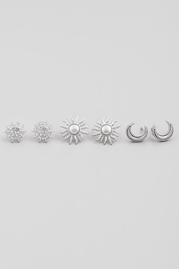 Silver Mini Sun Post Stud Earrings Set