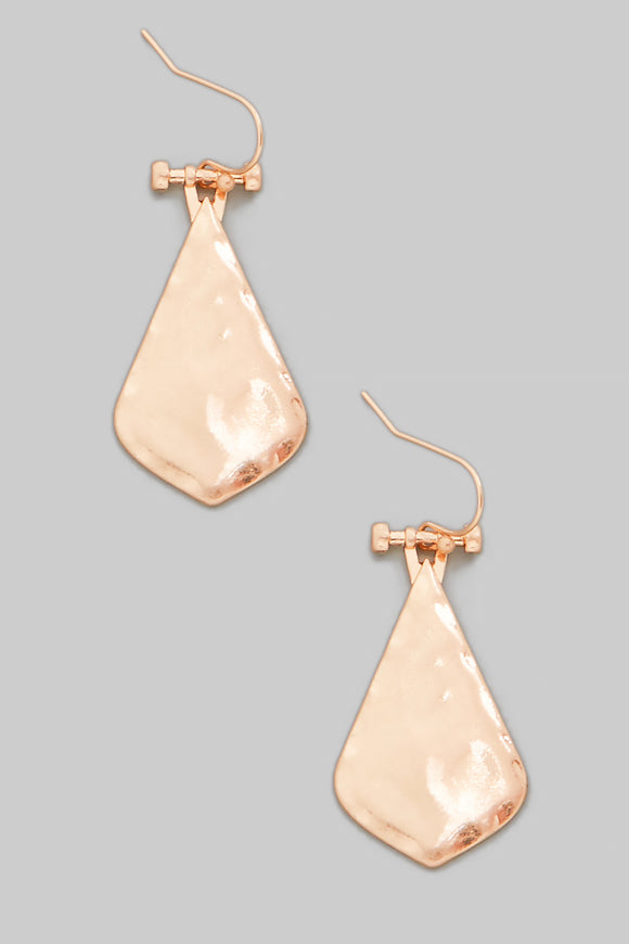 Metallic Hammered Teardrop Earrings