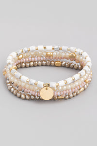 Stone Beaded Coin Stretch Bracelet Set