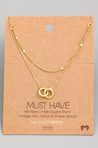 Layered Chain Link Charm Necklace - Gold