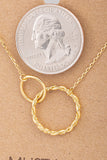 Gold Double Circle Chain Link Charm Necklace