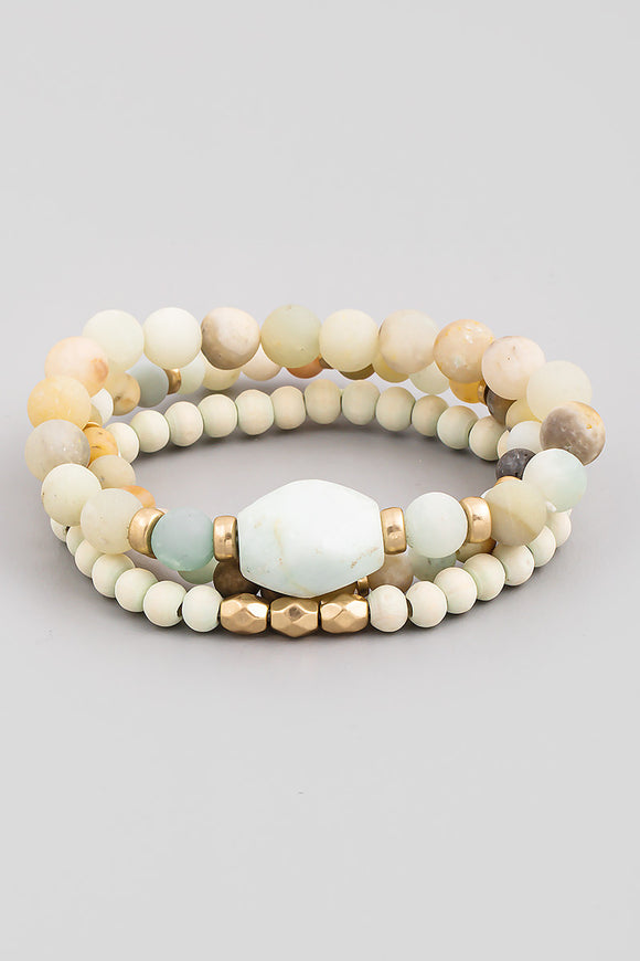 Stone Bead Stretch Bracelet Set - Amazonite