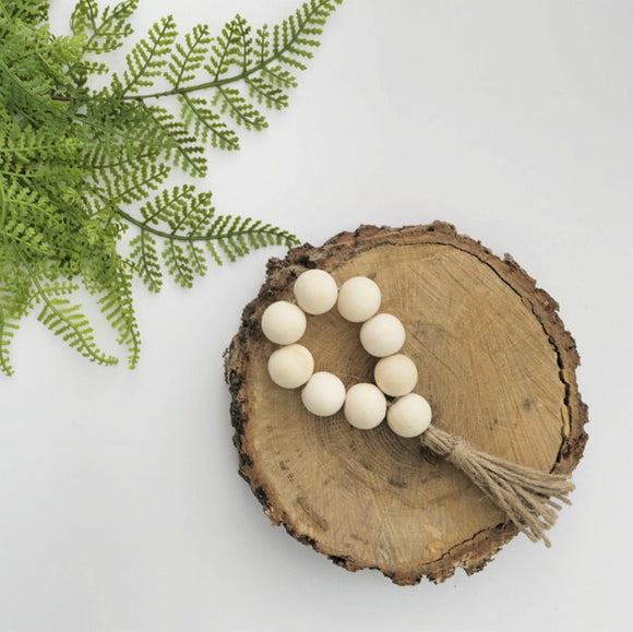 Raw Wood Napkin Ring/ Mini Bead Loop/ Ornament - Terra Cottage