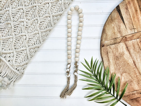 Raw Wood and Chippy White  Bead Garland with Tassels - Terra Cottage
