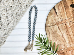 All Gray Beaded Garland With Tassels