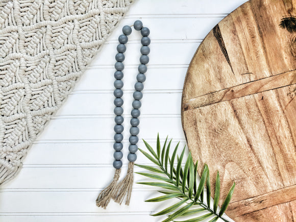All Gray Beaded Garland With Tassels - Terra Cottage