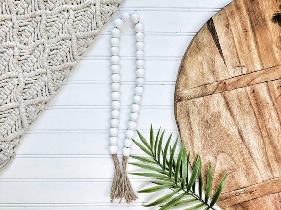 All White Beaded Garland With Tassels