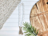 All White Beaded Garland With Tassels - Terra Cottage