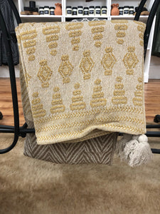 Mustard and Taupe Tassel Throw