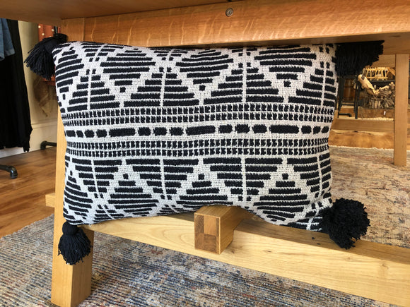 Black and Natural Lumbar Pillow - Terra Cottage