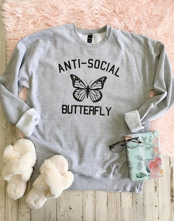 Anti-Social Butterfly Graphic Sweatshirt - Terra Cottage