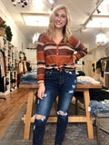 Rust Stripe Knit Top