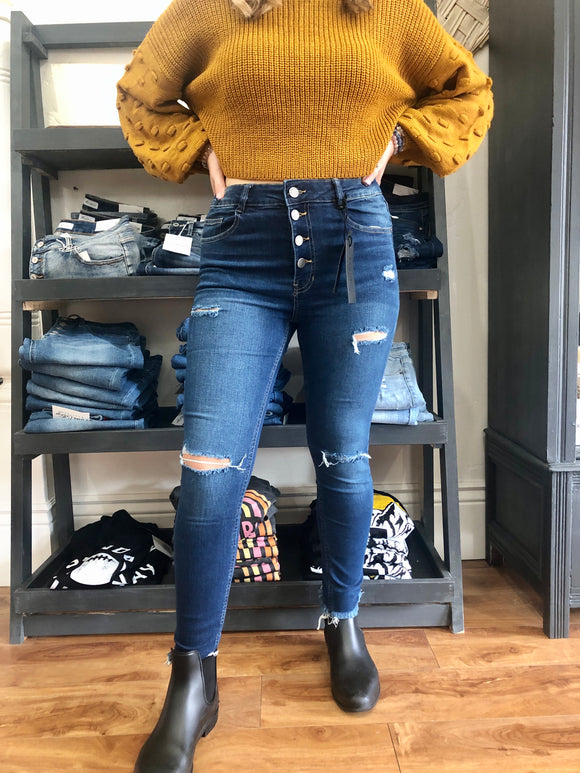 High Waist Mid Wash Skinnies