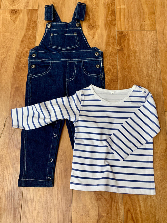 Overall and Striped Shirt Baby Set