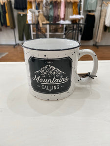 The Mountains Are Calling White Campfire Mug