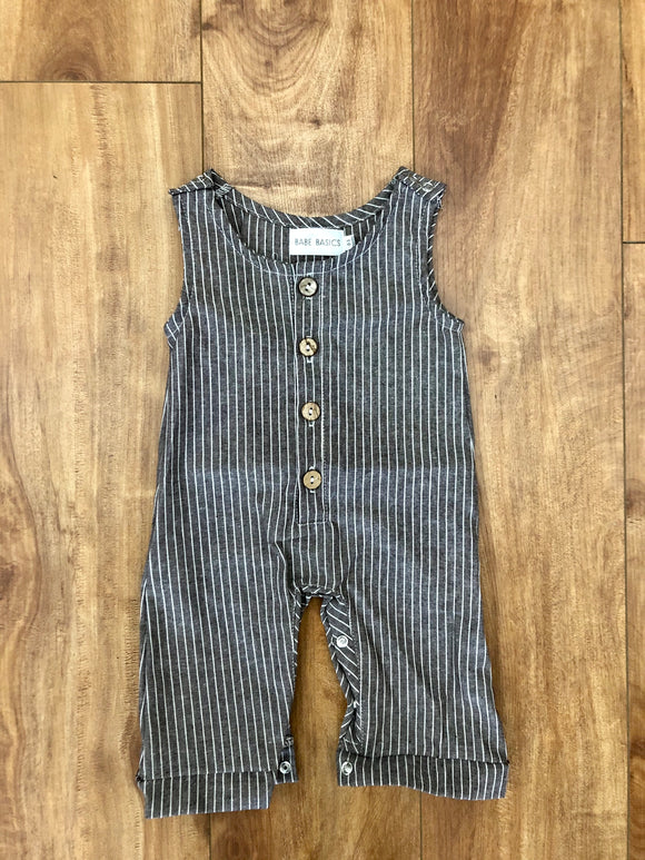 Striped Linen Baby Romper
