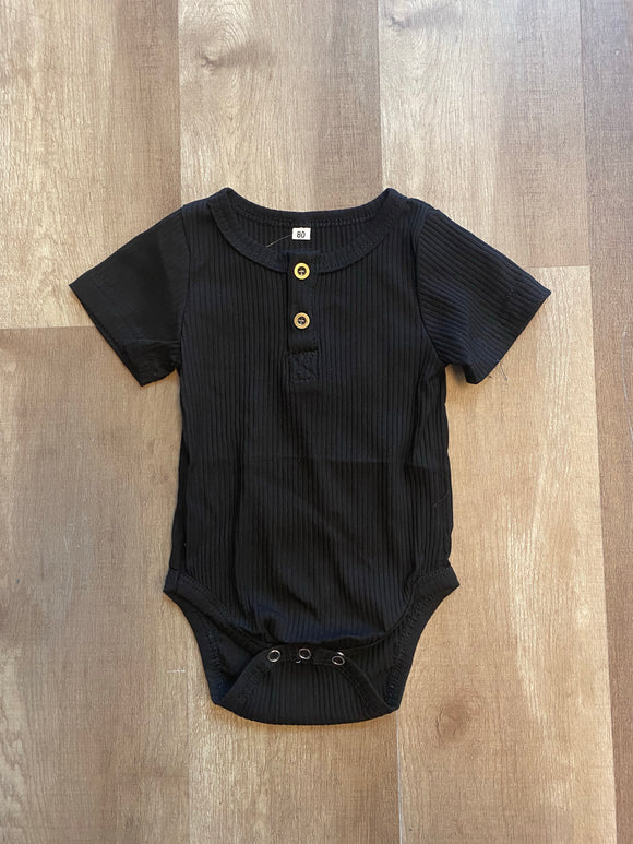 Ribbed Black Onesie - Terra Cottage