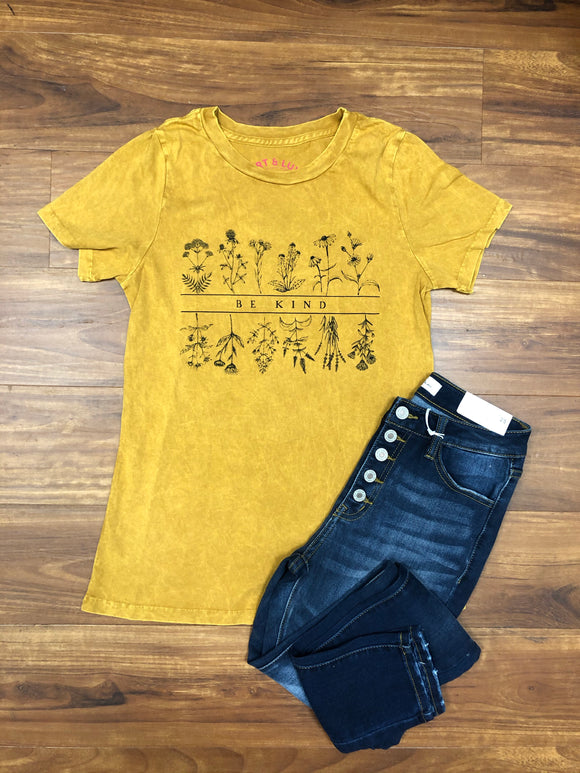Mustard Mineral Wash Be Kind Tee