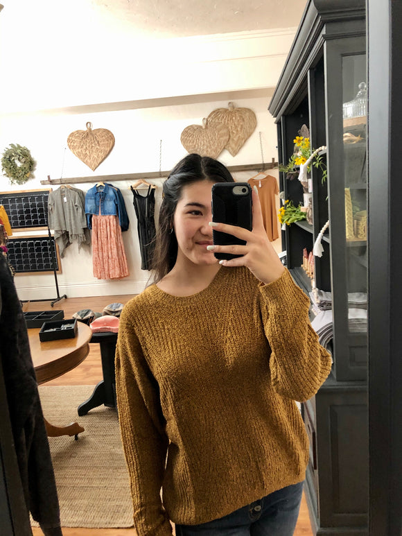 Mustard Chain Back Sweater