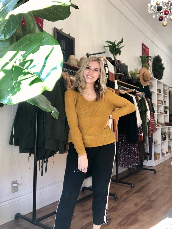 Relaxed Mustard V Neck Sweater