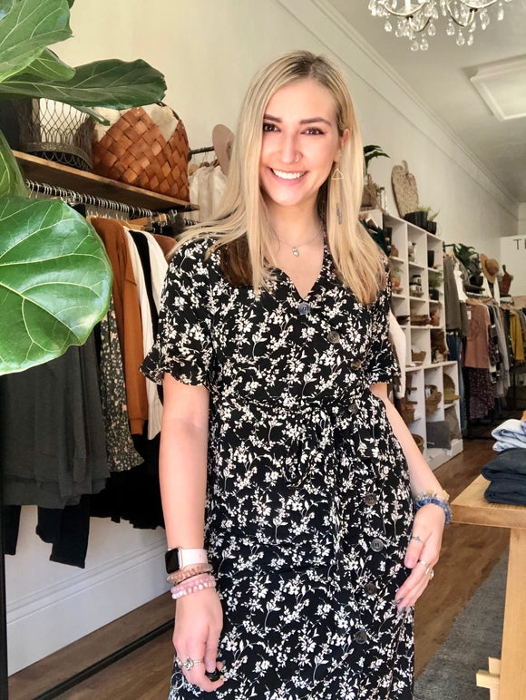 Black Floral Button Down Dress