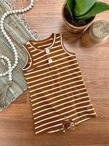Camel Striped Henley Baby Romper
