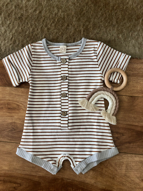 Rust Stripe Button Up Baby Romper