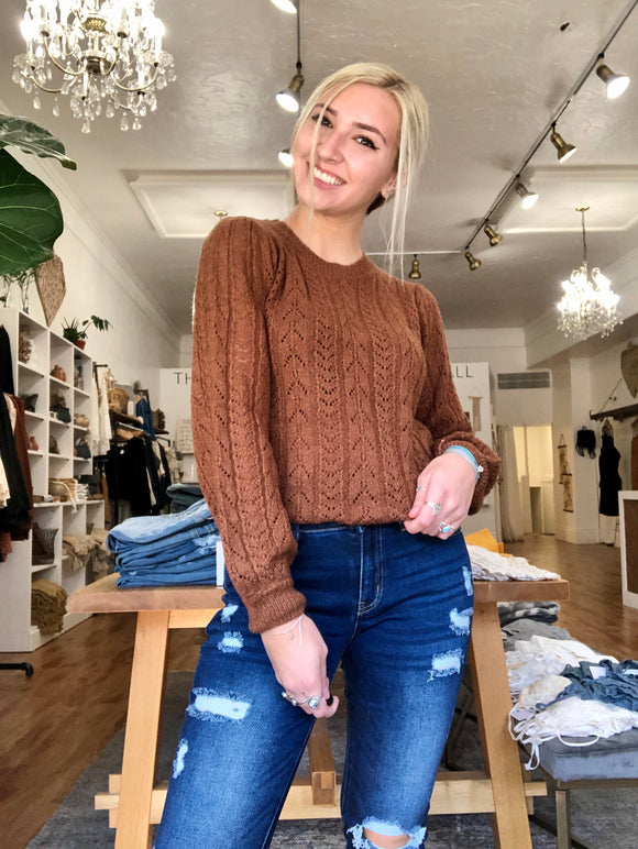 Hazelnut Balloon Sleeve Sweater