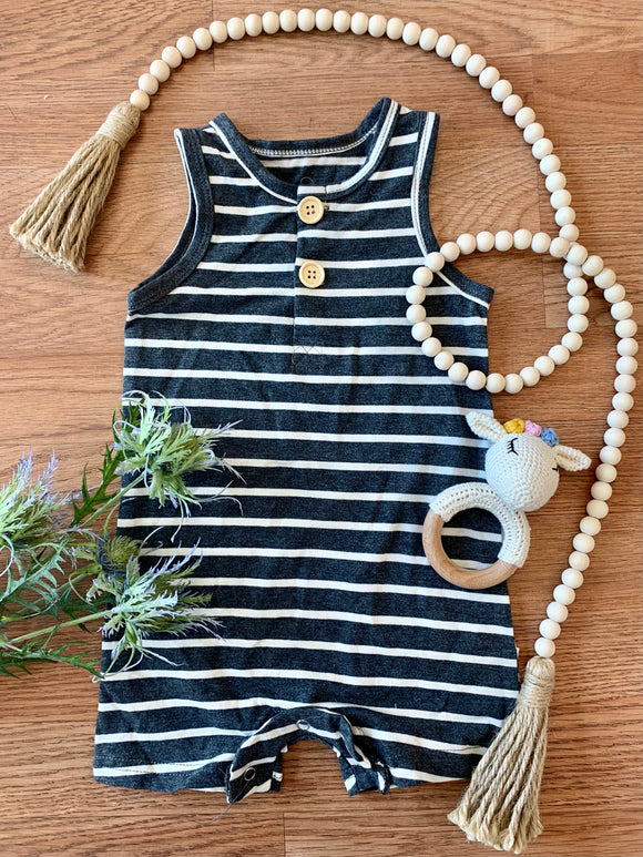 Navy Striped Henley Baby Romper
