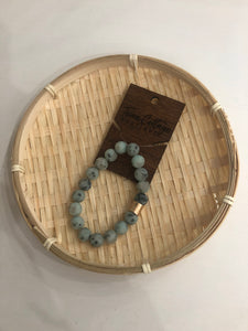 Stone Beaded Stretch Bracelet - Sage