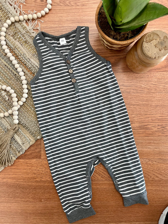 Grey Striped Henley Baby Romper