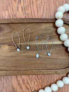 Silver Dainty Pearl Drop Earrings