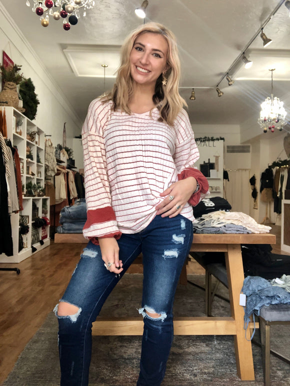 Stripe Twist Ribbed Top