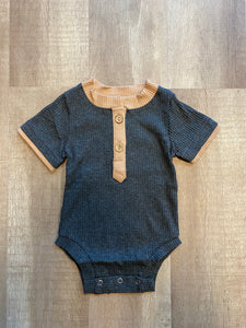 Ribbed Grey and Tan Onesie - Terra Cottage