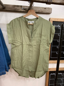 Modern Olive Collar Top