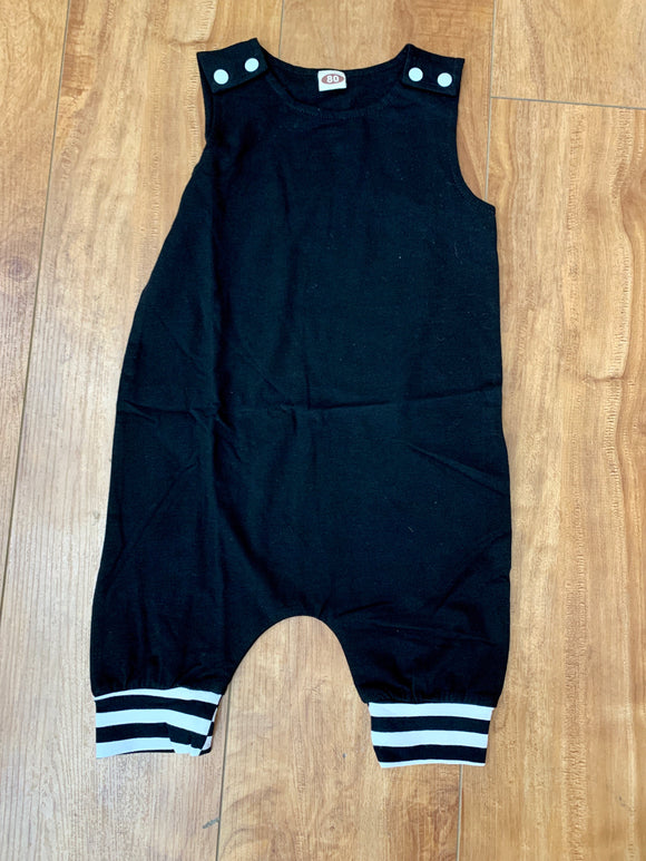 Black and Striped Baby Romper