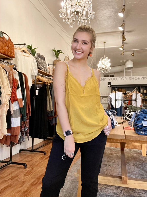 Mustard Lace Trimmed Cami