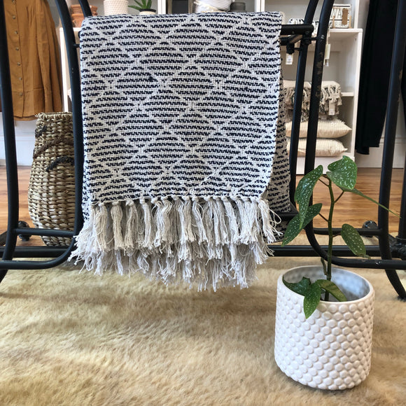 Navy and Ivory Throw Blanket - Terra Cottage