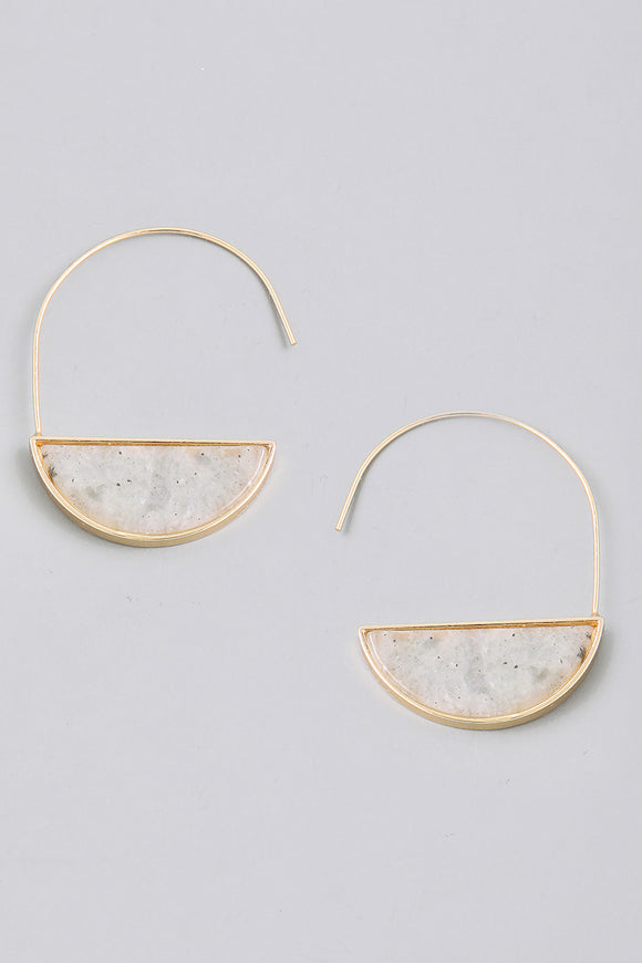 Semicircle Stone Hoop Drop Earrings - Light Gray