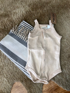 Terry Baby Bodysuit - Wheat