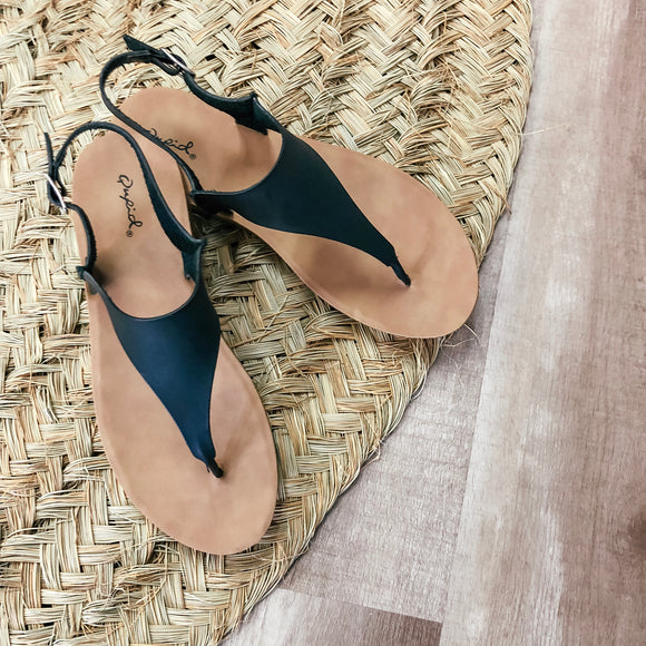 Black Vegan Leather Sandals - Terra Cottage
