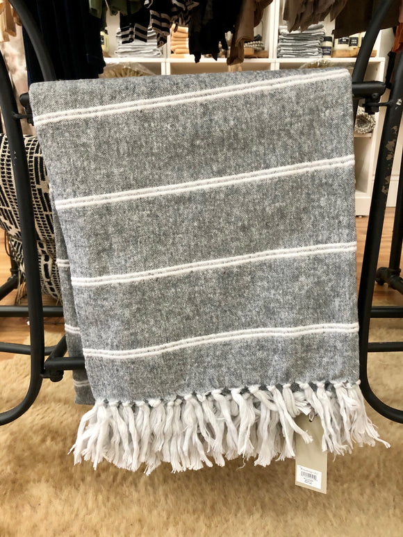 Grey Woven Brushed Cotton Throw Blanket