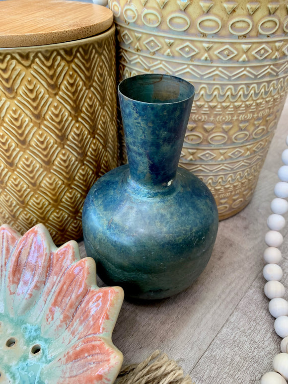 Distressed Copper Round Vase