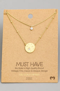 Gold Layered Star Coin Charm Necklace