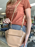 Beige Faux Leather Crossbody Fashion Bag