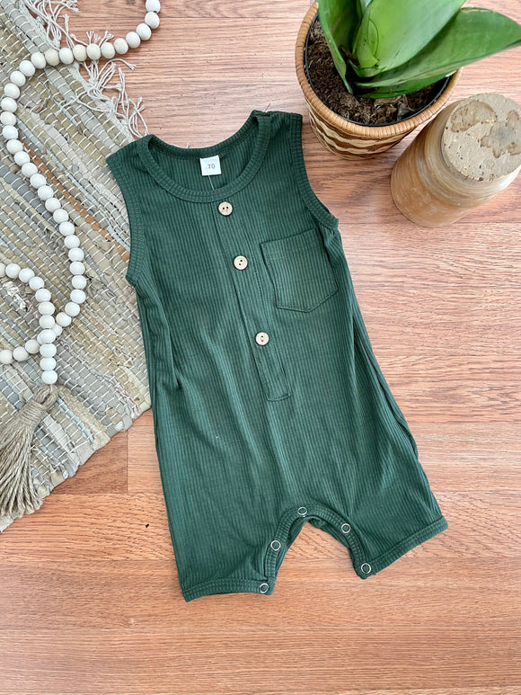 Emerald Ribbed Baby Romper