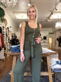Ribbed Jumpsuit- Olive